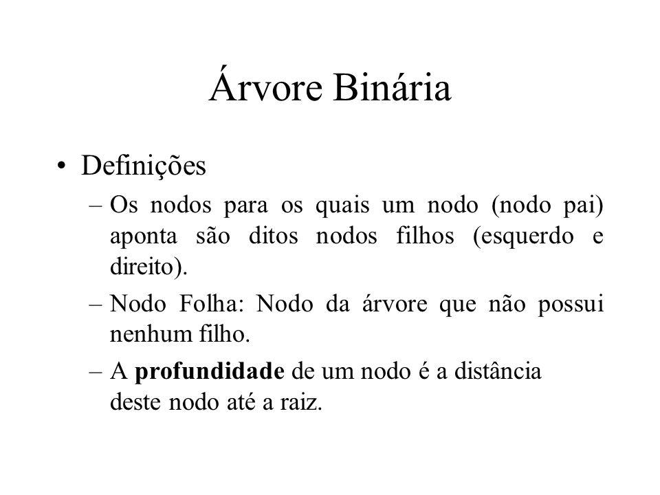 Árvore Binária Definições –Os nodos para os quais um nodo (nodo pai) aponta são ditos nodos filhos (esquerdo e direito).