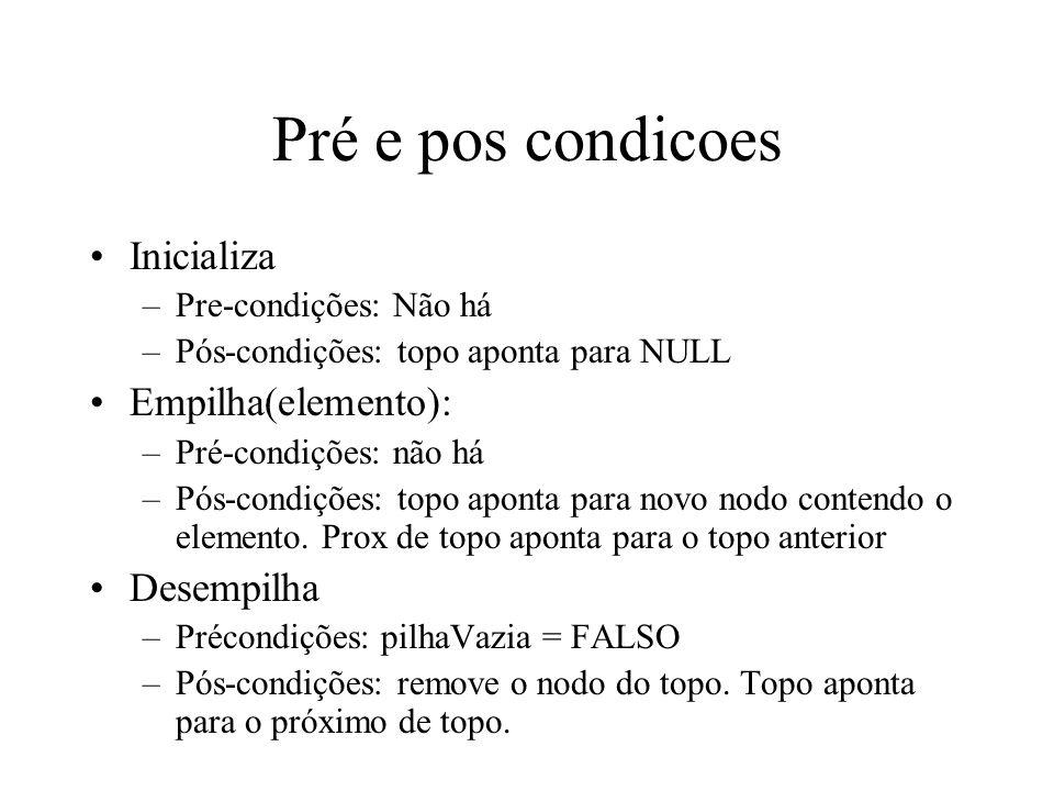 Pré e pos condicoes Inicializa –Pre-condições: Não há –Pós-condições: topo aponta para NULL Empilha(elemento): –Pré-condições: não há –Pós-condições: