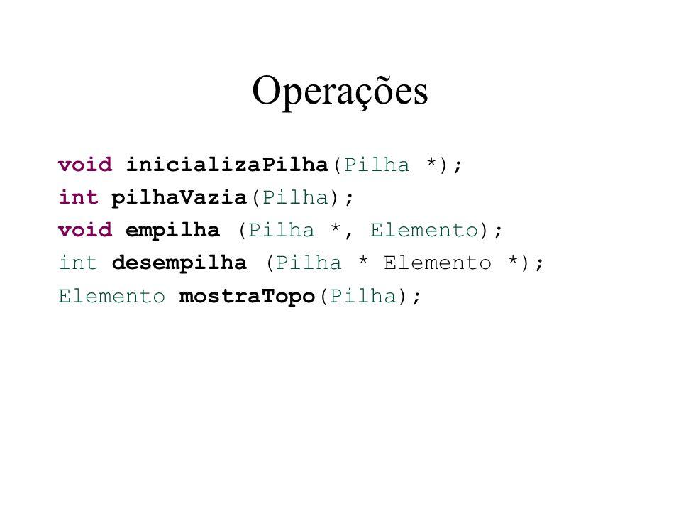 Operações void inicializaPilha(Pilha *); int pilhaVazia(Pilha); void empilha (Pilha *, Elemento); int desempilha (Pilha * Elemento *); Elemento mostra