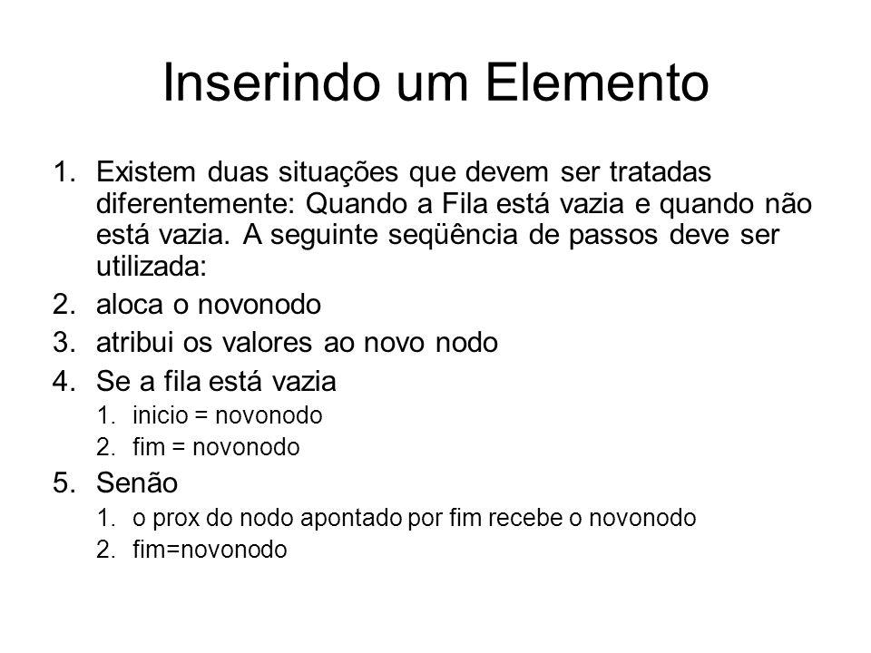 Função de inserção int insereNaFila(TadFila *q, Elemento elem) { Nodo novonodo; novonodo = (Nodo) malloc (sizeof (struct nodo)); novonodo->item=elem; novonodo->prox=NULL; if (filaVazia(*q)== TRUE){ q->fim=novonodo; q->inicio=novonodo; } else{ q->fim->prox = novonodo; q->fim=novonodo; } return (TRUE); }