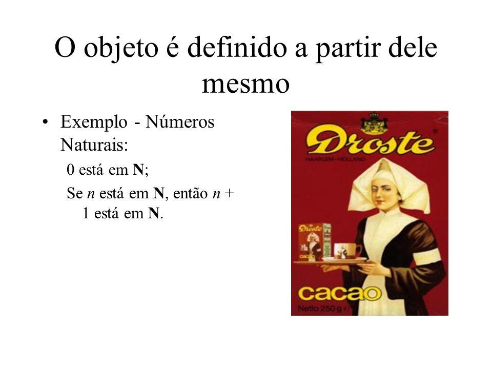 O objeto é definido a partir dele mesmo Exemplo - Números Naturais: 0 está em N; Se n está em N, então n + 1 está em N.