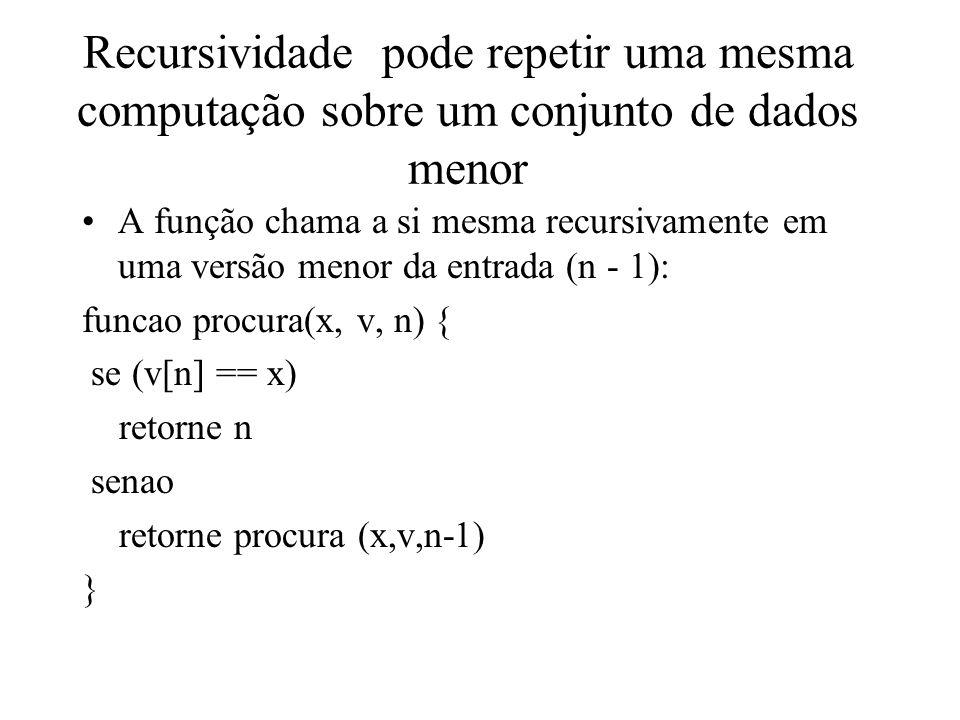 Recursividade pode repetir uma mesma computação sobre um conjunto de dados menor A função chama a si mesma recursivamente em uma versão menor da entrada (n - 1): funcao procura(x, v, n) { se (v[n] == x) retorne n senao retorne procura (x,v,n-1) }