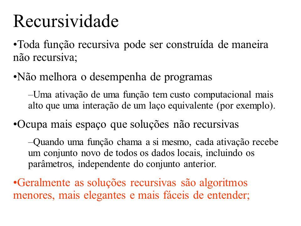Recursividade Toda função recursiva pode ser construída de maneira não recursiva; Não melhora o desempenha de programas –Uma ativação de uma função te
