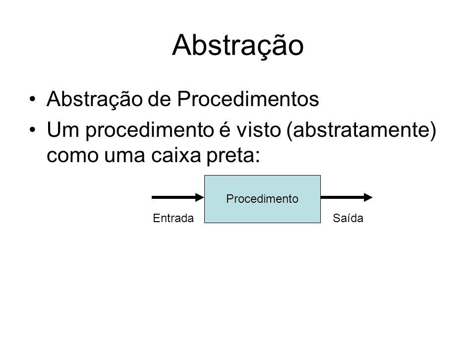 Abstração Abstração de Procedimentos Um procedimento é visto (abstratamente) como uma caixa preta: Procedimento EntradaSaída