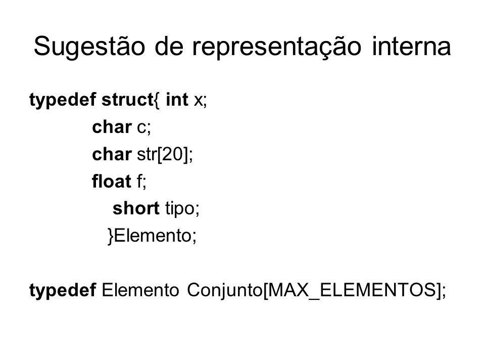 Sugestão de representação interna typedef struct{ int x; char c; char str[20]; float f; short tipo; }Elemento; typedef Elemento Conjunto[MAX_ELEMENTOS