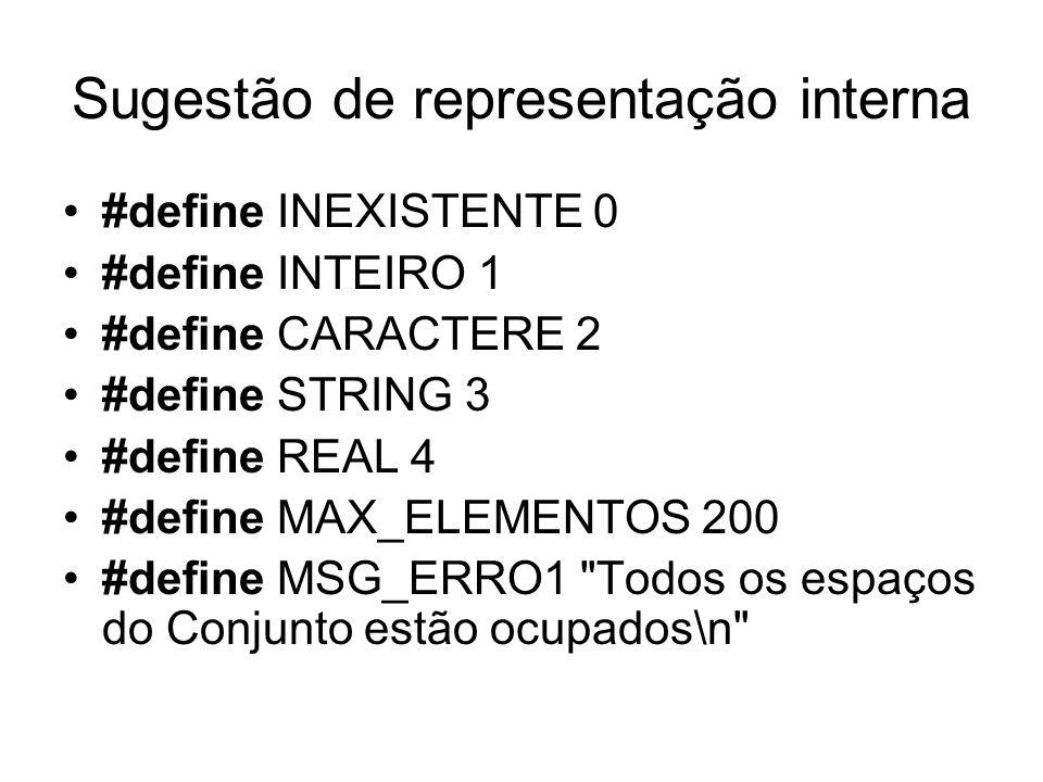 Sugestão de representação interna #define INEXISTENTE 0 #define INTEIRO 1 #define CARACTERE 2 #define STRING 3 #define REAL 4 #define MAX_ELEMENTOS 20