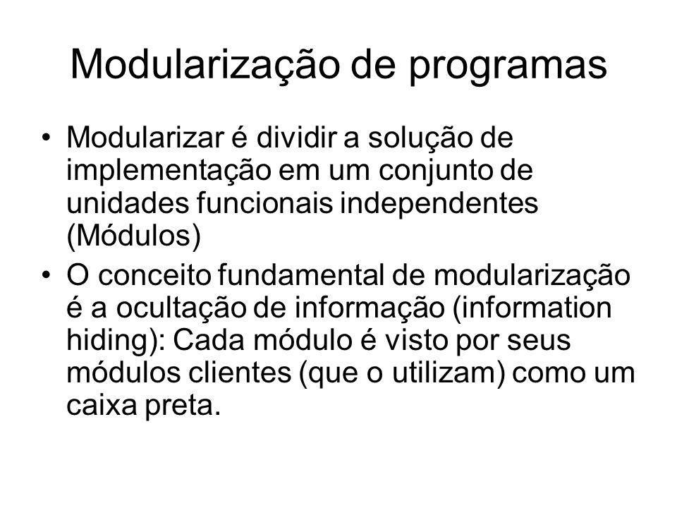 Modularização de programas Modularizar é dividir a solução de implementação em um conjunto de unidades funcionais independentes (Módulos) O conceito f