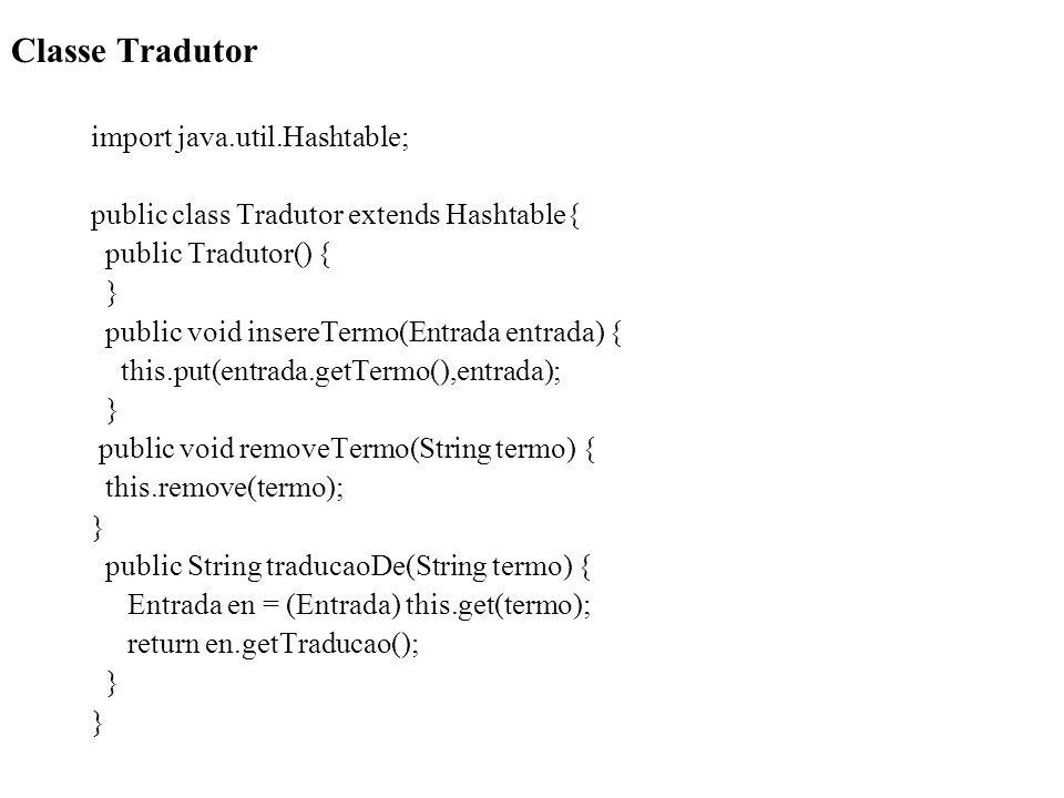 Classe Tradutor import java.util.Hashtable; public class Tradutor extends Hashtable{ public Tradutor() { } public void insereTermo(Entrada entrada) {