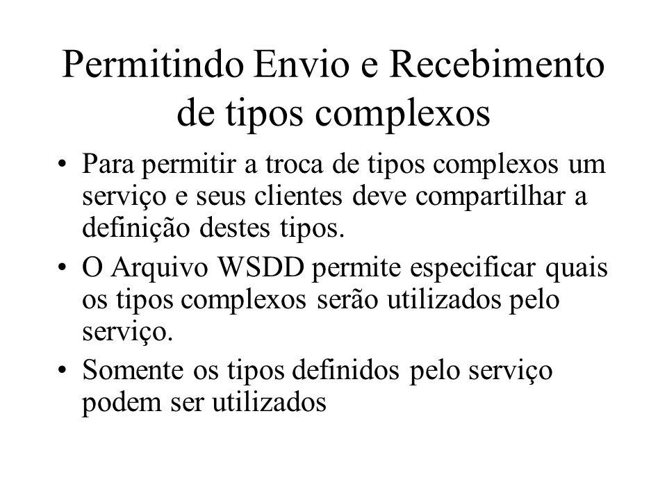 Permitindo Envio e Recebimento de tipos complexos Para permitir a troca de tipos complexos um serviço e seus clientes deve compartilhar a definição de