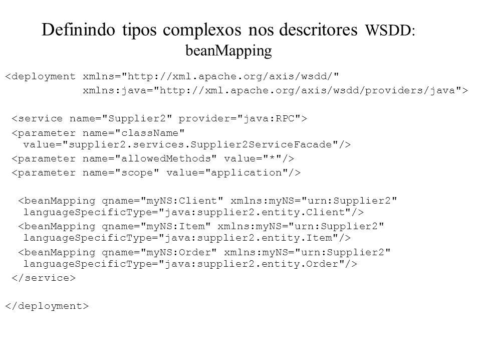Definindo tipos complexos nos descritores WSDD: beanMapping <deployment xmlns=