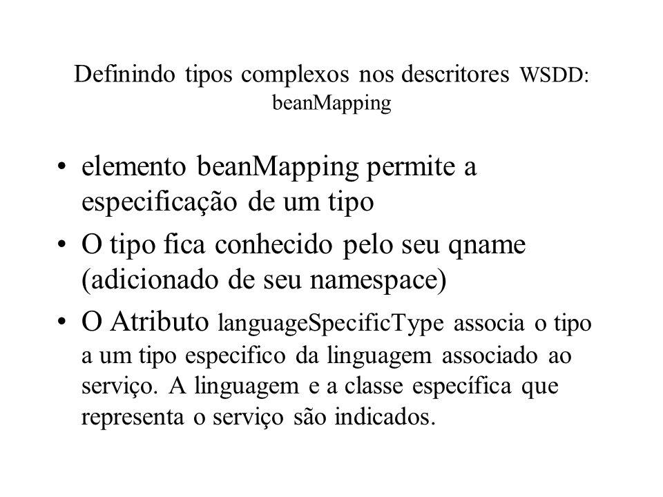 Definindo tipos complexos nos descritores WSDD: beanMapping elemento beanMapping permite a especificação de um tipo O tipo fica conhecido pelo seu qna