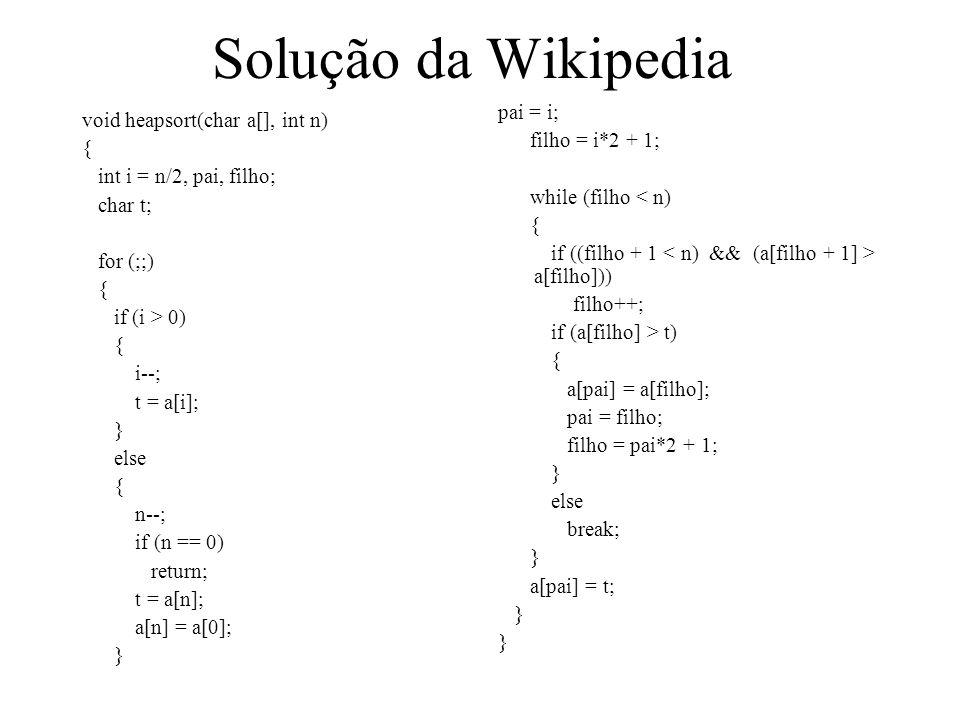 Solução da Wikipedia void heapsort(char a[], int n) { int i = n/2, pai, filho; char t; for (;;) { if (i > 0) { i--; t = a[i]; } else { n--; if (n == 0) return; t = a[n]; a[n] = a[0]; } pai = i; filho = i*2 + 1; while (filho < n) { if ((filho + 1 a[filho])) filho++; if (a[filho] > t) { a[pai] = a[filho]; pai = filho; filho = pai*2 + 1; } else break; } a[pai] = t; }