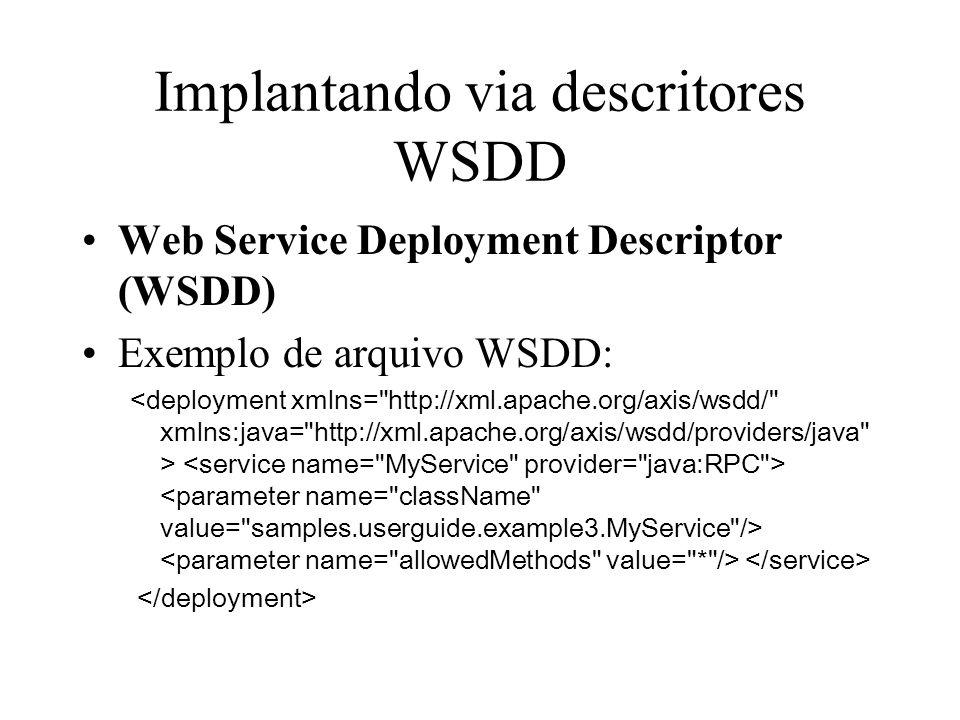 Implantando via descritores WSDD Web Service Deployment Descriptor (WSDD) Exemplo de arquivo WSDD: