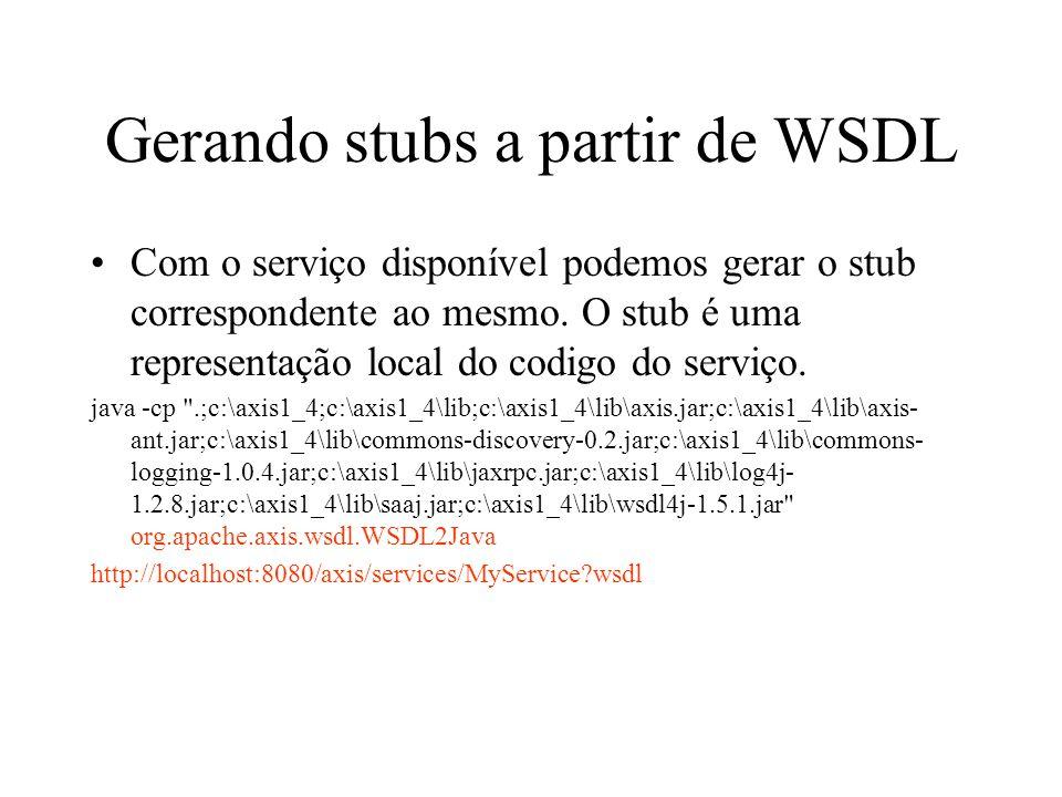 Gerando stubs a partir de WSDL Com o serviço disponível podemos gerar o stub correspondente ao mesmo.