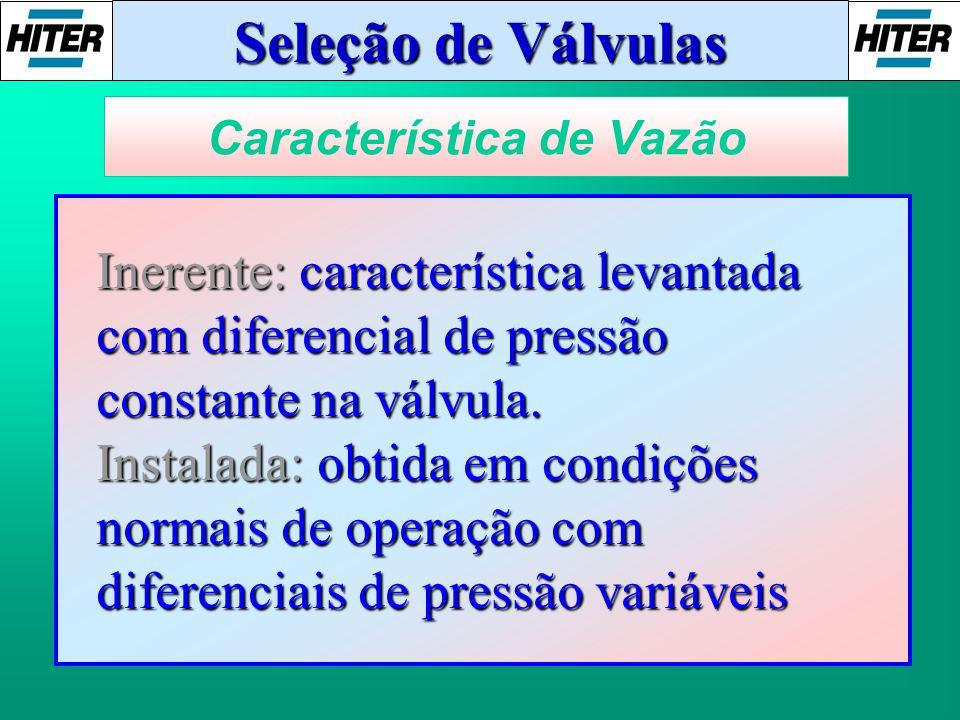Seleção de Válvulas Característica de Vazão Inerente: característica levantada com diferencial de pressão constante na válvula. Instalada: obtida em c