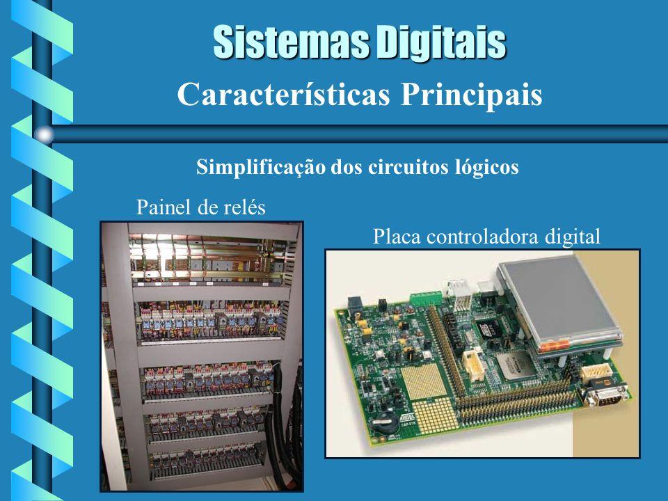 Sistemas Digitais Características Principais Simplificação dos circuitos lógicos Painel de relés Placa controladora digital