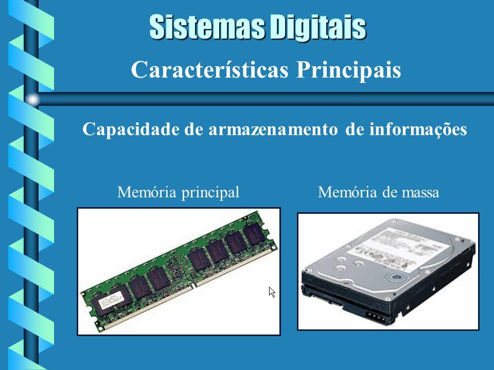 Sistemas Digitais Características Principais Capacidade de armazenamento de informações Memória principalMemória de massa