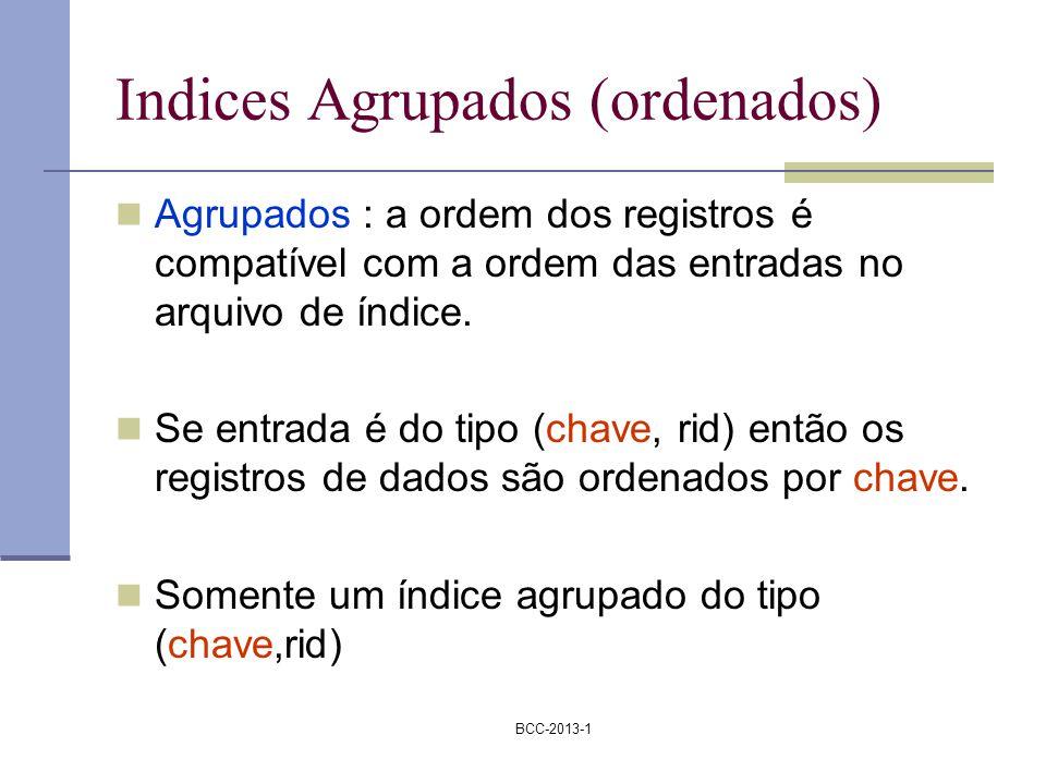 BCC-2013-1 Indices Agrupados (ordenados) Agrupados : a ordem dos registros é compatível com a ordem das entradas no arquivo de índice. Se entrada é do
