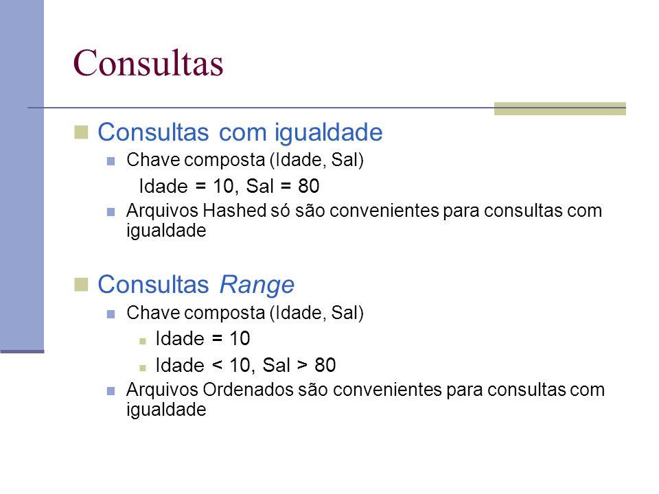 Consultas Consultas com igualdade Chave composta (Idade, Sal) Idade = 10, Sal = 80 Arquivos Hashed só são convenientes para consultas com igualdade Co