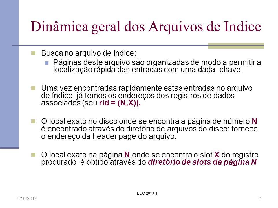 BCC-2013-1 6/10/20147 Dinâmica geral dos Arquivos de Indice Busca no arquivo de indice: Páginas deste arquivo são organizadas de modo a permitir a loc