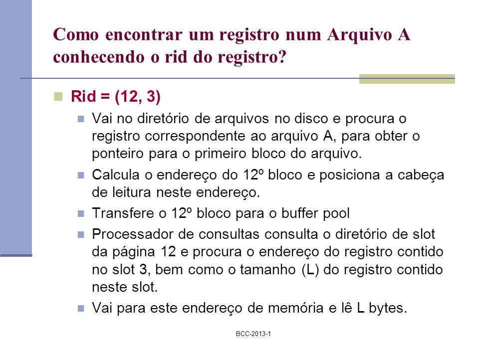 BCC-2013-1 Como encontrar um registro num Arquivo A conhecendo o rid do registro? Rid = (12, 3) Vai no diretório de arquivos no disco e procura o regi