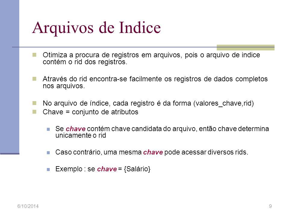 6/10/20149 Arquivos de Indice Otimiza a procura de registros em arquivos, pois o arquivo de indice contém o rid dos registros. Através do rid encontra