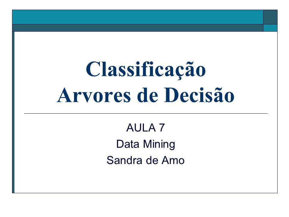 Classificação Arvores de Decisão AULA 7 Data Mining Sandra de Amo