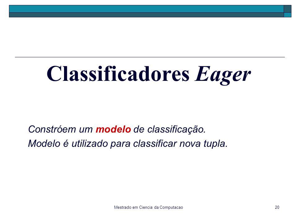 Mestrado em Ciencia da Computacao20 Constróem um modelo de classificação. Modelo é utilizado para classificar nova tupla. Classificadores Eager