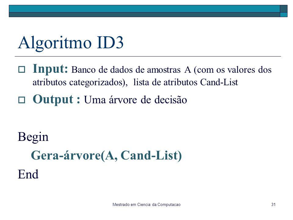 Mestrado em Ciencia da Computacao31 Algoritmo ID3 Input: Banco de dados de amostras A (com os valores dos atributos categorizados), lista de atributos