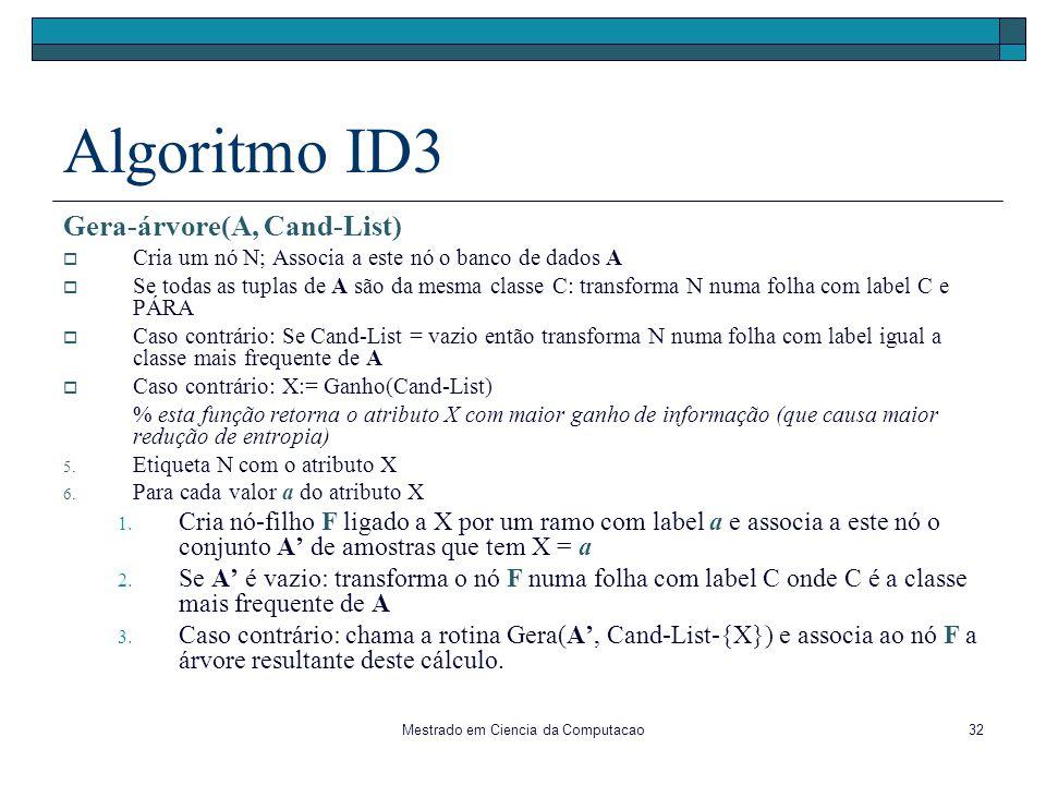 Mestrado em Ciencia da Computacao32 Algoritmo ID3 Gera-árvore(A, Cand-List) Cria um nó N; Associa a este nó o banco de dados A Se todas as tuplas de A
