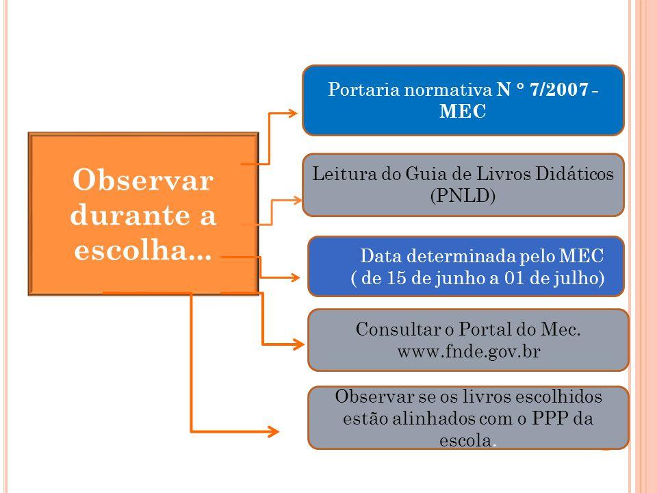 Observar durante a escolha... Portaria normativa N ° 7/2007 - MEC Leitura do Guia de Livros Didáticos (PNLD) Data determinada pelo MEC ( de 15 de junh