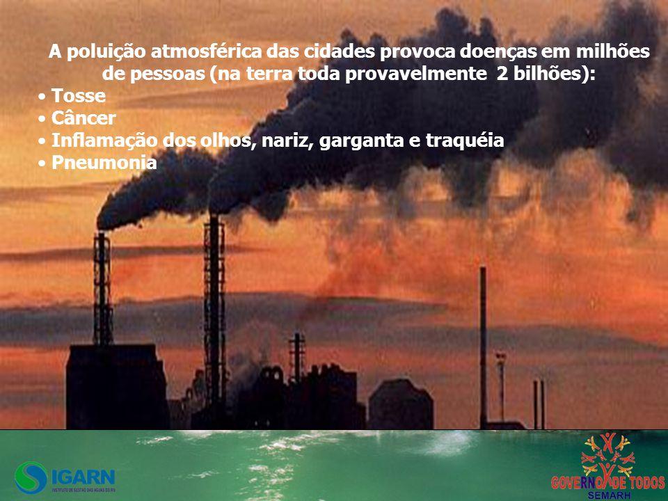 A poluição atmosférica das cidades provoca doenças em milhões de pessoas (na terra toda provavelmente 2 bilhões): Tosse Câncer Inflamação dos olhos, nariz, garganta e traquéia Pneumonia