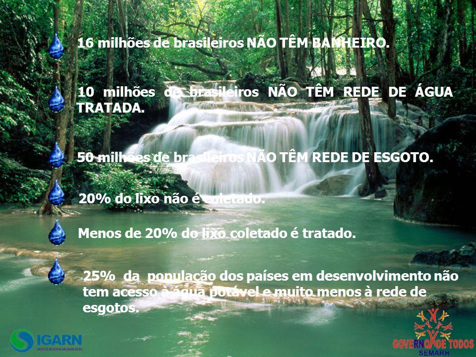 16 milhões de brasileiros NÃO TÊM BANHEIRO.10 milhões de brasileiros NÃO TÊM REDE DE ÁGUA TRATADA.