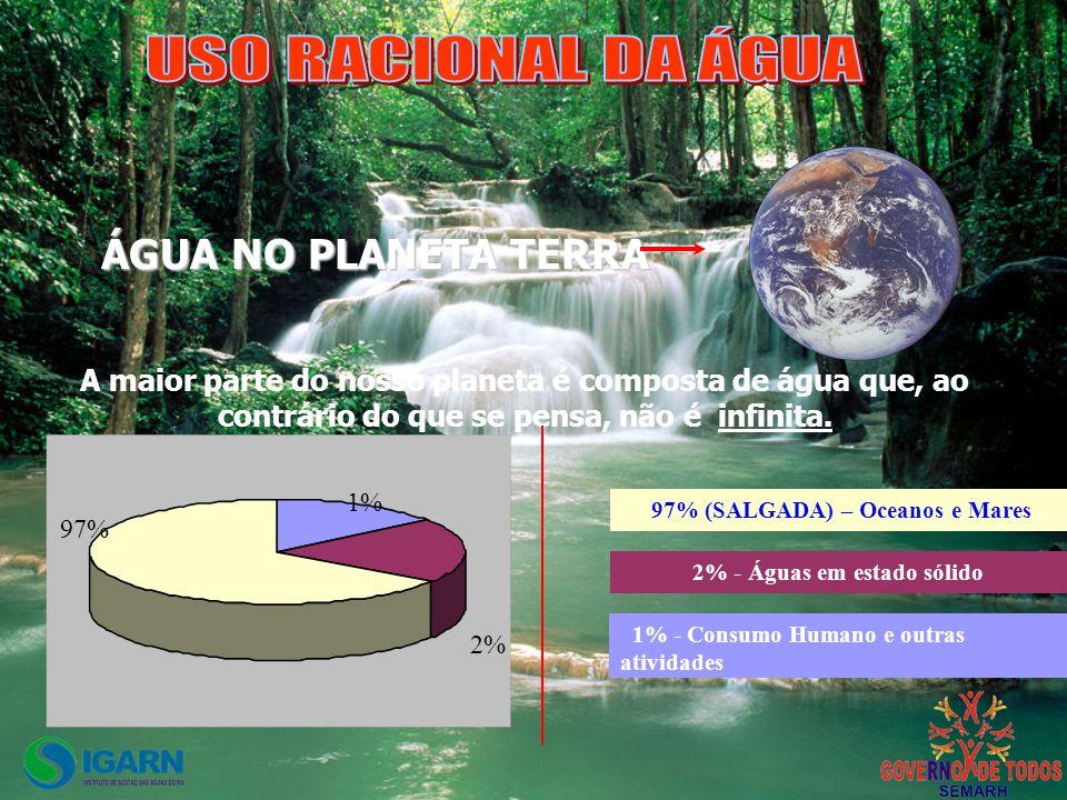 A maior parte do nosso planeta é composta de água que, ao contrário do que se pensa, não é infinita. 2% 1% 97% 1% - Consumo Humano e outras atividades