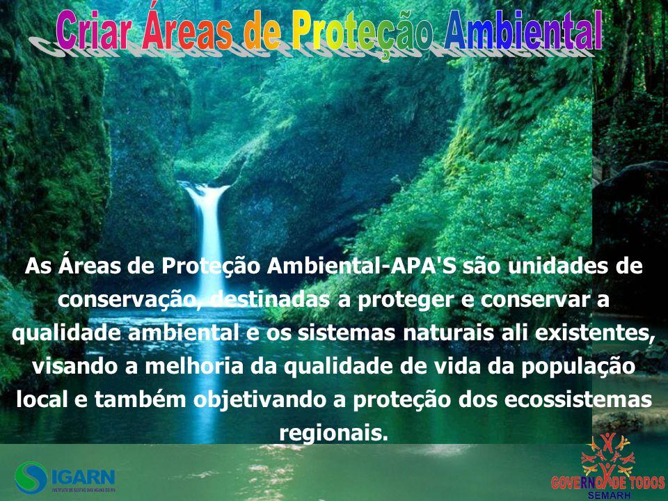 As Áreas de Proteção Ambiental-APA S são unidades de conservação, destinadas a proteger e conservar a qualidade ambiental e os sistemas naturais ali existentes, visando a melhoria da qualidade de vida da população local e também objetivando a proteção dos ecossistemas regionais.