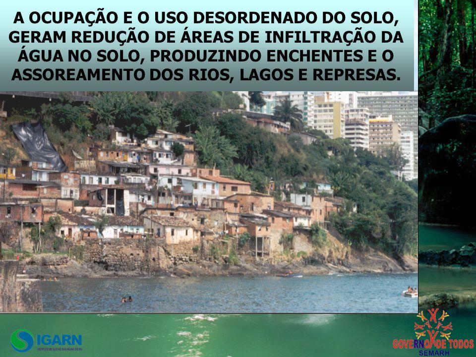 A OCUPAÇÃO E O USO DESORDENADO DO SOLO, GERAM REDUÇÃO DE ÁREAS DE INFILTRAÇÃO DA ÁGUA NO SOLO, PRODUZINDO ENCHENTES E O ASSOREAMENTO DOS RIOS, LAGOS E REPRESAS.