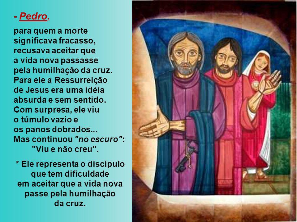 - Maria Madalena, no primeiro dia da semana , ainda no escuro procura no túmulo o Cristo morto.