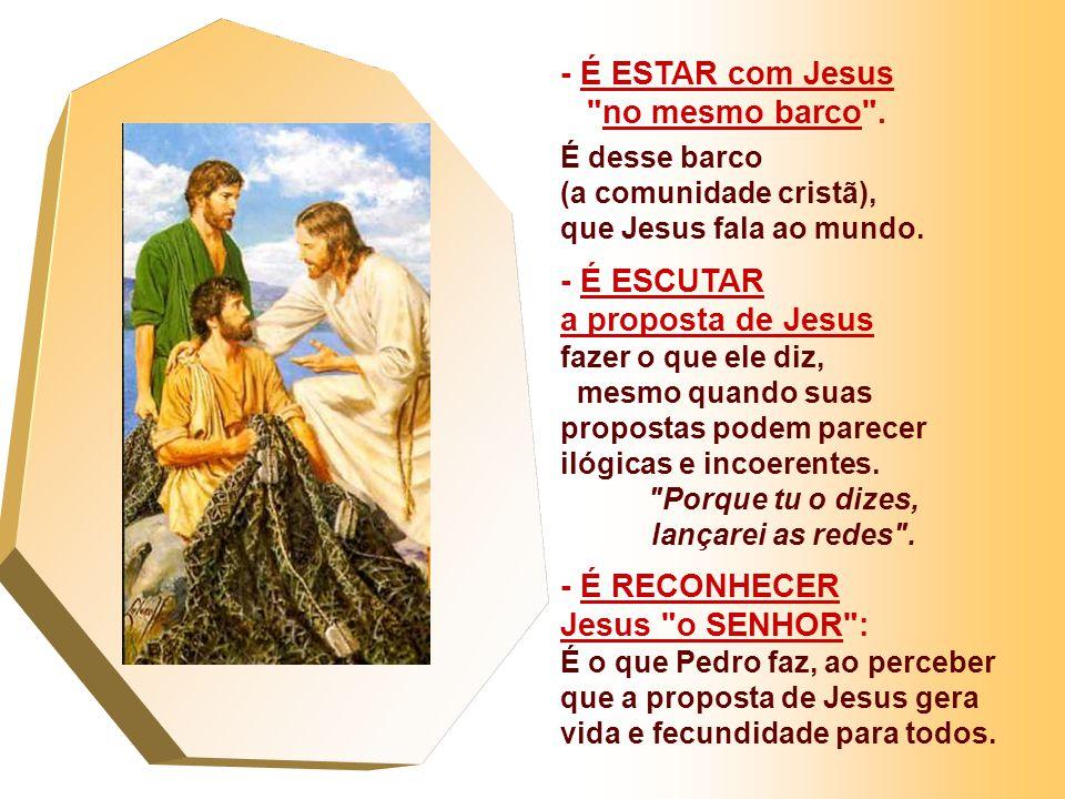 No Evangelho temos o Chamado dos Primeiros APÓSTOLOS. (Lc 5,1-11) - Jesus na Barca de Pedro fala ao povo... e depois os convida a pescar... - Pedro co