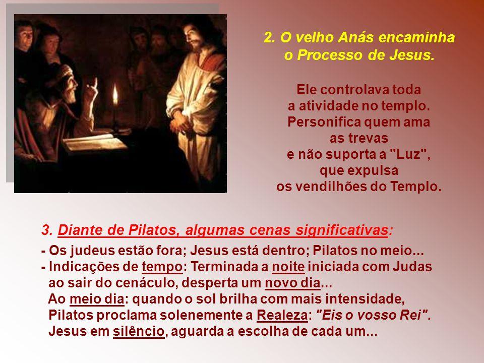 3. Diante de Pilatos, algumas cenas significativas: - Os judeus estão fora; Jesus está dentro; Pilatos no meio... - Indicações de tempo: Terminada a n