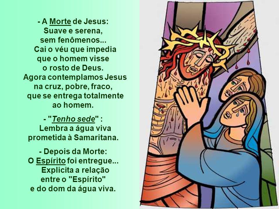 - A Morte de Jesus: Suave e serena, sem fenômenos... Cai o véu que impedia que o homem visse o rosto de Deus. Agora contemplamos Jesus na cruz, pobre,