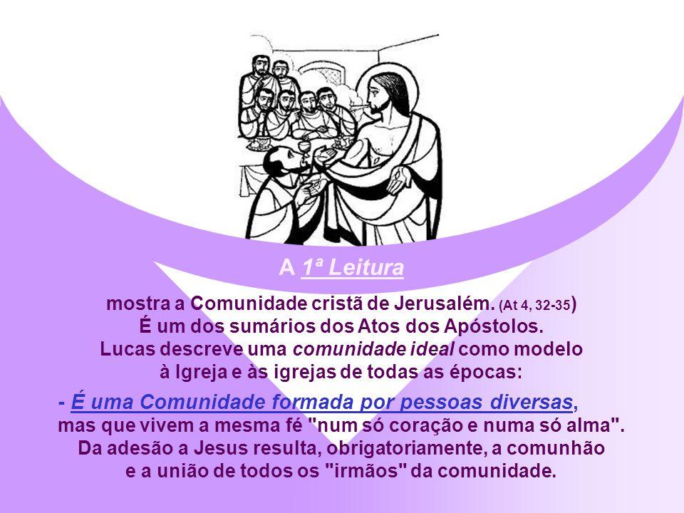 A liturgia de hoje apresenta a Comunidade Nova, que nasce da cruz e da ressurreição de Jesus: a IGREJA. A sua missão consiste em revelar aos homens a