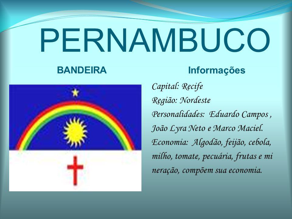 PERNAMBUCO BANDEIRA Informações Capital: Recife Região: Nordeste Personalidades: Eduardo Campos, João Lyra Neto e Marco Maciel. Economia: Algodão, fei