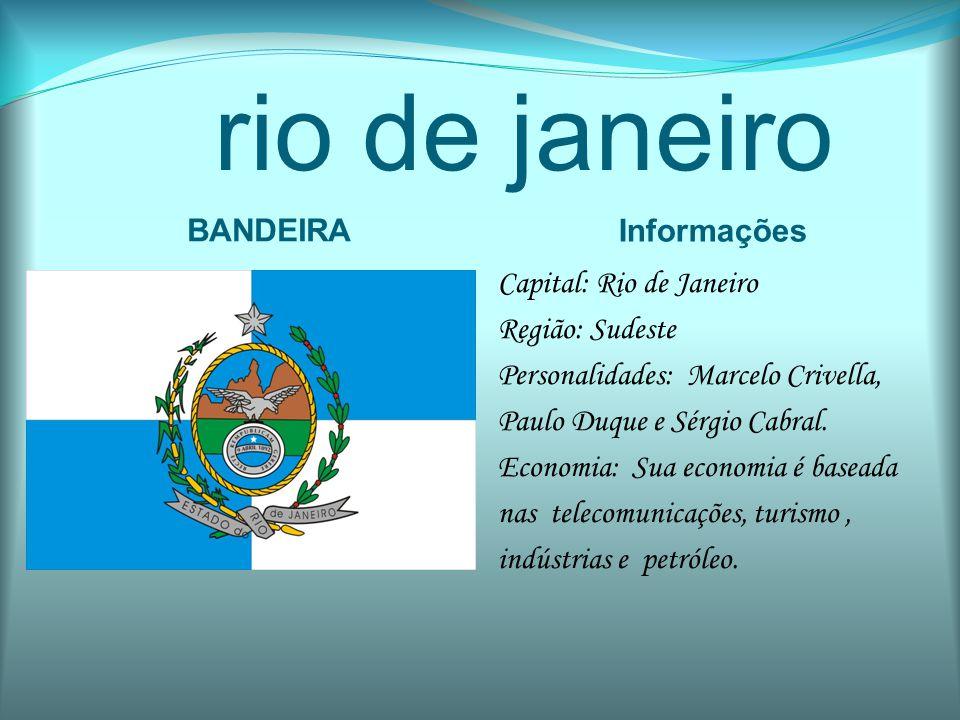 rio de janeiro BANDEIRA Informações Capital: Rio de Janeiro Região: Sudeste Personalidades: Marcelo Crivella, Paulo Duque e Sérgio Cabral. Economia: S