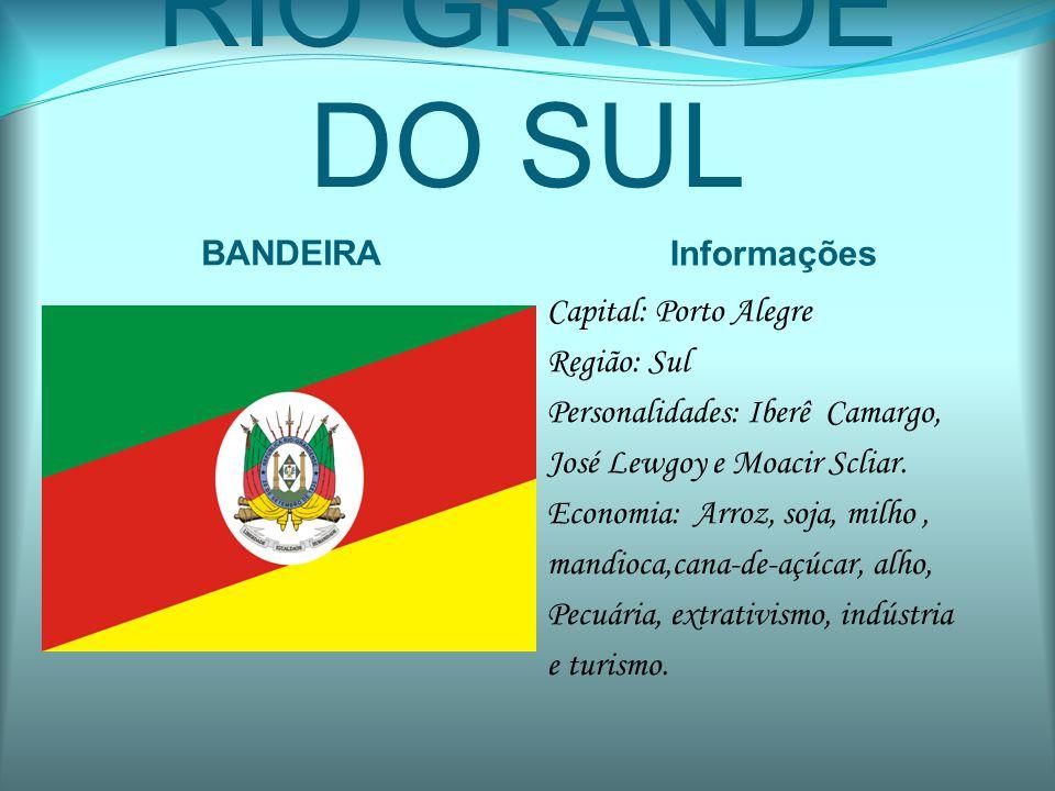 RIO GRANDE DO SUL BANDEIRA Informações Capital: Porto Alegre Região: Sul Personalidades: Iberê Camargo, José Lewgoy e Moacir Scliar. Economia: Arroz,