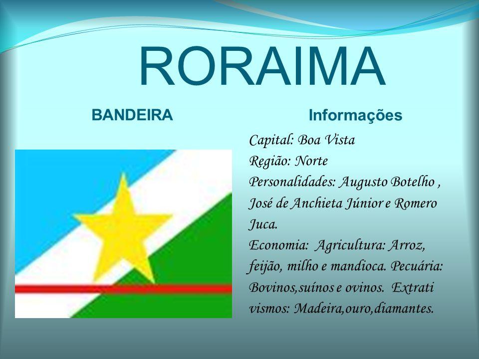 RORAIMA BANDEIRA Informações Capital: Boa Vista Região: Norte Personalidades: Augusto Botelho, José de Anchieta Júnior e Romero Juca. Economia: Agricu