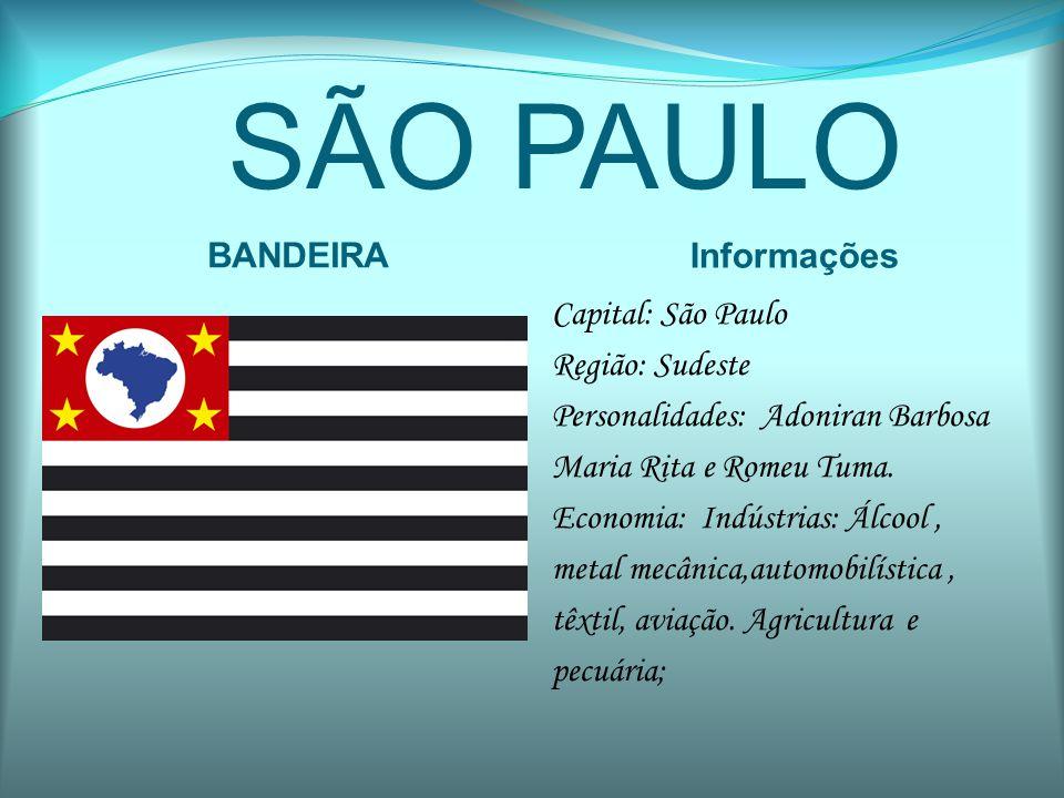 SÃO PAULO BANDEIRA Informações Capital: São Paulo Região: Sudeste Personalidades: Adoniran Barbosa Maria Rita e Romeu Tuma. Economia: Indústrias: Álco