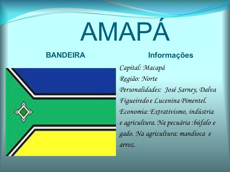 AMAZONAS BANDEIRA Informações Capital: Manaus Região: Norte Personalidades: Antonio Calmon, Bernardo Cabral e José Augusto Branco.