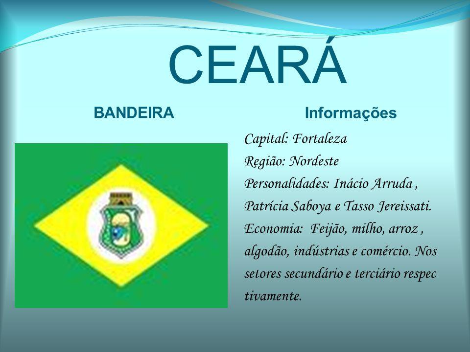 CEARÁ BANDEIRA Informações Capital: Fortaleza Região: Nordeste Personalidades: Inácio Arruda, Patrícia Saboya e Tasso Jereissati. Economia: Feijão, mi