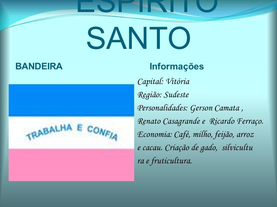 ESPÍRITO SANTO BANDEIRA Informações Capital: Vitória Região: Sudeste Personalidades: Gerson Camata, Renato Casagrande e Ricardo Ferraço. Economia: Caf