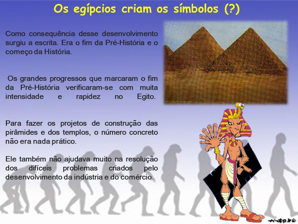 Os egípcios criam os símbolos (?) Como consequência desse desenvolvimento surgiu a escrita. Era o fim da Pré-História e o começo da História. Os grand